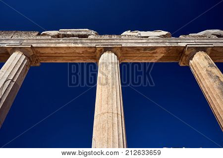 columns of ancient ruins in the city of Kos in Greece