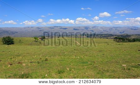 CORDOBA, ARGENTINA. Beautiful photograph taken in the sierras of Cordoba, Argentina. Valley of Calamuchita, near Villa Yacanto. Horses, trees and green lawn. The mountains on the horizon.