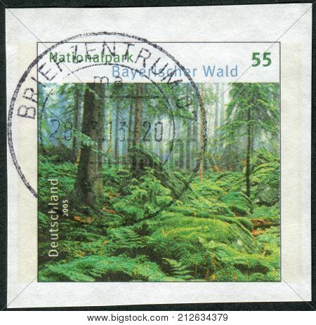 GERMANY - CIRCA 2005: Postage stamp printed by Germany shows the Bavarian Forest National Park circa 2005