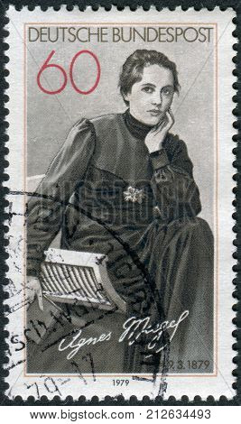 GERMANY - CIRCA 1979: Postage stamp printed in Germany shows the poet Agnes Miegel circa 1979