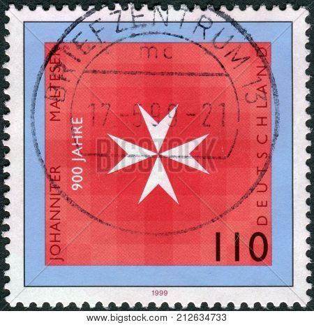 GERMANY - CIRCA 1999: Postage stamp printed in Germany dedicated to the 900th anniversary of the Knights of St. John of Jerusalem and Knights of Malta circa 1999