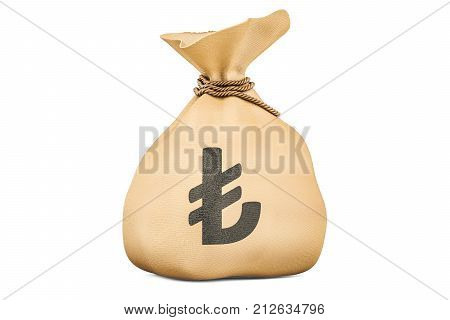Money bag with lira 3D rendering isolated on white background