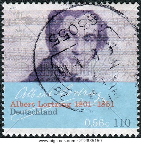 GERMANY - CIRCA 2001: Postage stamp printed in Germany dedicated to the 200th anniversary of the birth the composer actor and singer Gustav Albert Lortzing circa 2001
