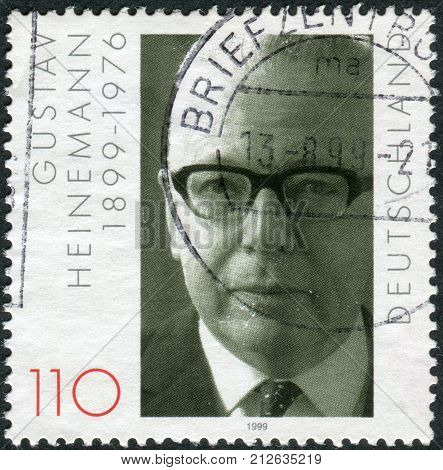 GERMANY - CIRCA 1999: Postage stamp printed in Germany dedicated to the 100th anniversary of the birth Gustav Walter Heinemann circa 1999