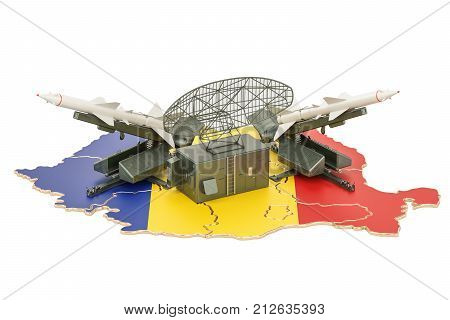 Romanian missile defence system concept 3D rendering isolated on white background