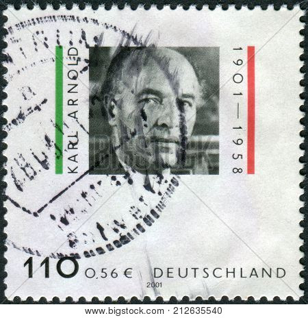 GERMANY - CIRCA 2001: Postage stamp printed in Germany shows Karl Arnold politician circa 2001