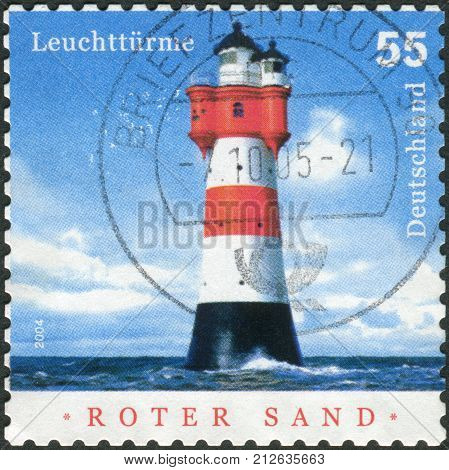 GERMANY - CIRCA 2004: Postage stamp printed in Germany shows a lighthouse Roter Sand circa 2004