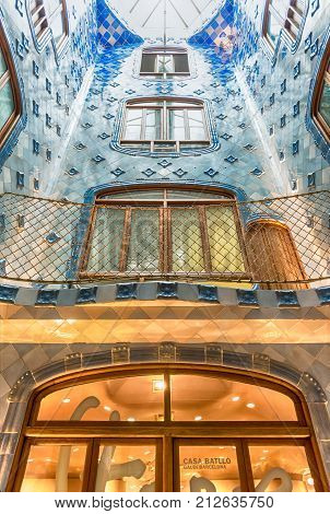 Iconic Blue Lightwell In Casa Batllo, Barcelona, Catalonia, Spain