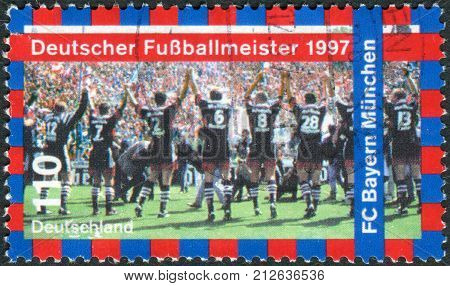 GERMANY - CIRCA 1997: Postage stamp printed in Germany shows the FC Bayern Munchen 1997 German Soccer Champions circa 1997