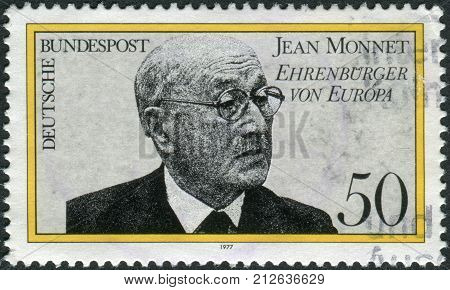 GERMANY - CIRCA 1977: Postage stamp printed in Germany shows a Jean Monnet French proponent of unification of Europe became first Honorary Citizen of Europe in Apr. 1976 circa 1977