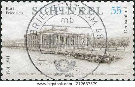 GERMANY - CIRCA 2006: Postage stamp printed in Germany dedicated to the 225th anniversary of the birth of Karl Friedrich Schinkel depicts The Altes Museum (Old Museum) in Berlin circa 2006