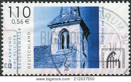 GERMANY - CIRCA 2001: Postage stamp printed in Germany shows a Canzow Village church circa 2001