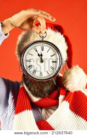 Santa With Red Hat And Scarf. Time Left To Holiday