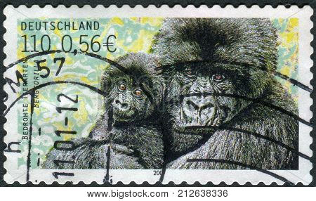 GERMANY - CIRCA 2001: Postage stamp printed in Germany shows the Mountain gorilla circa 2001
