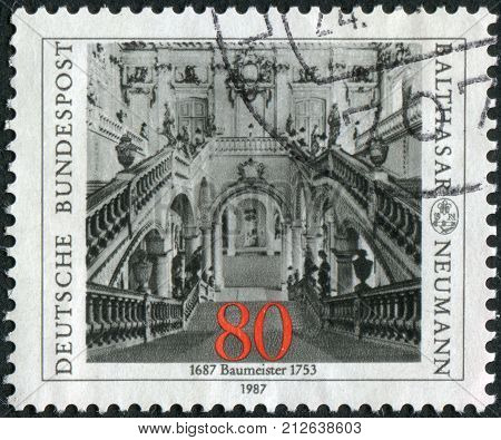 GERMANY - CIRCA 1987: Postage stamp printed in Germany dedicated to the 300th anniversary of the architect Balthasar Neumann depicts Archbishop's Residence at Wurzburg circa 1987