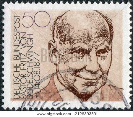 GERMANY - CIRCA 1977: Postage stamp printed in Germany shows portrait of Pastor Fritz von Bodelschwingh manager of Bethel Institute (for the incurable sick) circa 1977