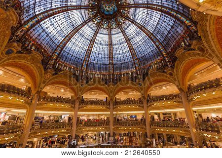 PARIS, FRANCE - August 16, 2017: Interior of the Galeries Lafayette shopping centre.