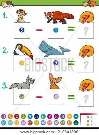 Maths Subtraction Game With Cute Animals