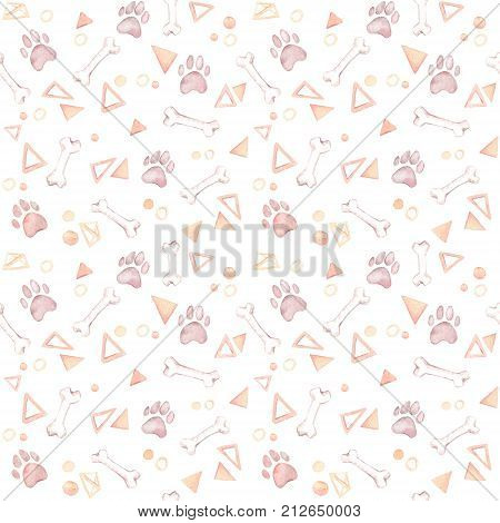 Cute Background. Hand Drawn Watercolor Seamless Pattern - Dog Paw, Bones, Triangles And Circles. Dom