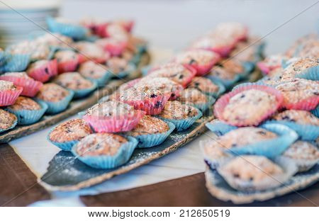 Set of  homemade fresh cupcakes dusted powdered sugar in blue and pink paper wrapper on wooden background.Sweet cookies