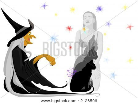 The old good witch with black cat poster
