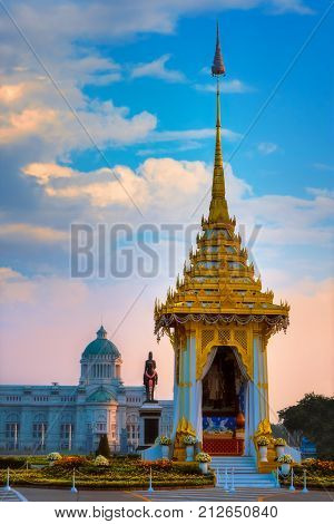 BANGKOK THAILAND - OCTOBER 29 2017: The replica of royal crematorium of His Majesty late King Bhumibol Adulyadej built for the royal funeral at The Royal Plaza with King Chulalongkorn Monument