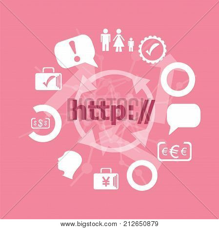Text Http. Web Design Concept . Icons Set. Flat Pictogram. Sign And Symbols For Business, Finance, S