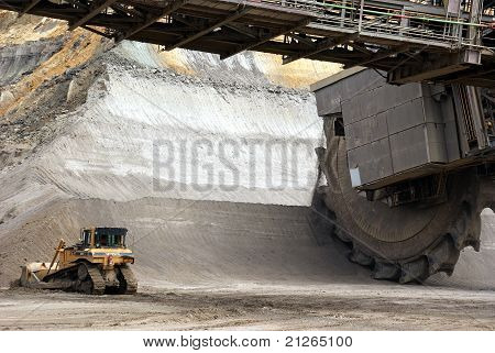 Bucket-wheel Excavator And A Shovel Digging In A Coal-mine, Germany