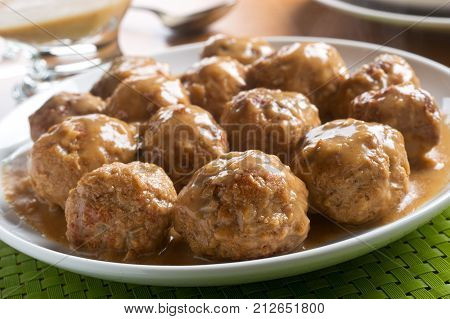Delicious homemade swedish meatballs with mushroom cream sauce.