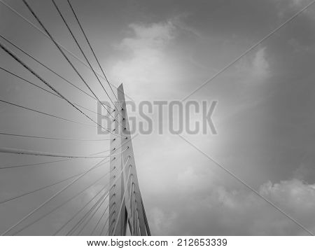 Erasmus Bridge bright white structure and stays backlit by late afternoon sun and cloudy sky monochrome.