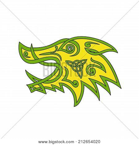 Celtic knot stylized illustration of a wild boar wild pig hog or razorback head viewed from side done in plait work or knotwork woven into unbroken cord design.