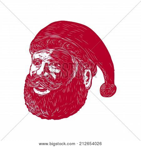 Retro woodcut style illustration of head of Santa Claus , Saint Nicholas, St. Nick or Kris Kringle three-quarter view on isolated background.