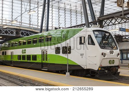 Toronto Canada - Oct 11 2017: Bombardier BiLevel Coach Go Transit train at the Union Station in Toronto. Province of Ontario Canada