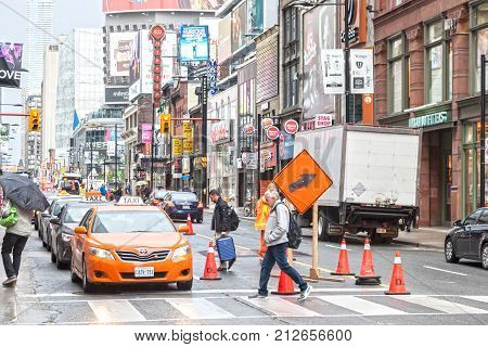 Toronto Canada - Oct 11 2017: Yonge Downtown street in the city of Toronto Canada