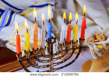 Brightly Glowing Hanukkah Menorah - Shallow Depth Of Field