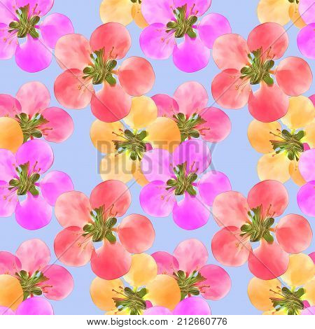 Quince apple quince. Texture of flowers. Seamless pattern for continuous replicate. Floral background photo collage for production of textile cotton fabric. For use in wallpaper covers