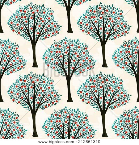 Seamless pattern with decorative vector cherry trees
