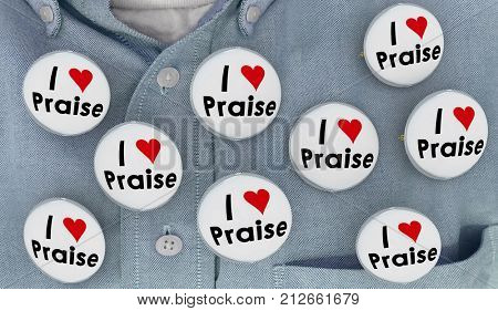 I Love Praise Buttons Compliments Appreciation Recognition 3d Illustration