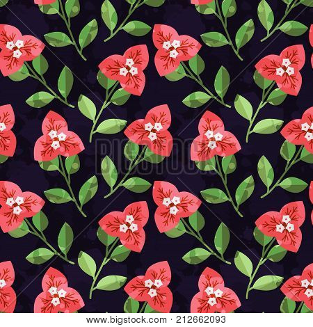 Seamless decorative pattern with red vector flowers