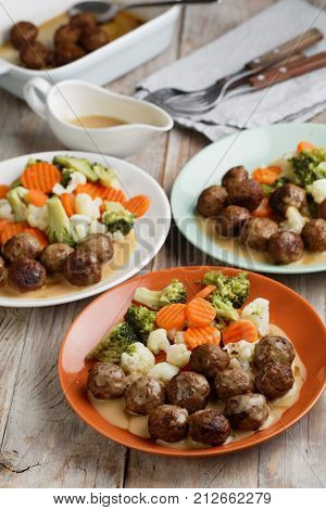 Swedish meatballs with vegetables