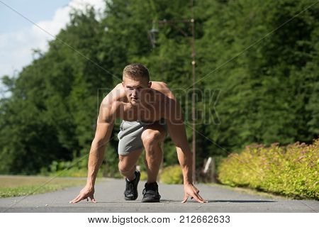 Sportsman Runner With Muscular Torso On Sunny Summer Day