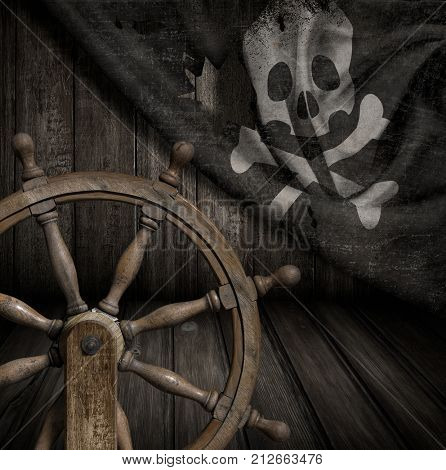 Pirates ship steering wheel with old jolly roger flag 3d illustration