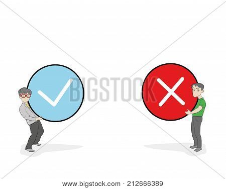 little people holding true and false sign. Positive and negative feedback concept. Yes or No icons flat design style. Cartoon Vector Illustration.