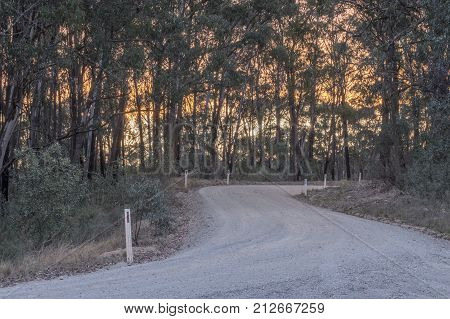 The winding Wombeyan Caves Road in the Southern Highlands of NSW, Australia, during sunset
