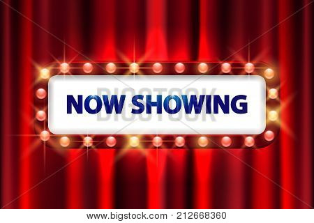 Cinema movie poster design. Theater sign or cinema sign on curtain with spot light frame. vector illustration EPS 10