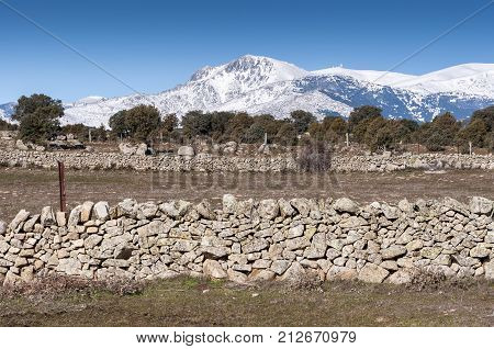 Views of Guadarrama Mountains In Madrid Province, Spain. It can be seen La Maliciosa Peak and Bola del Mundo Peak.