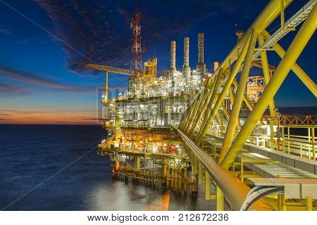 Origin of world energy and pretochemicalOil and gas processing platform produced gas and crud oil condensate and sent to onshore refinery.