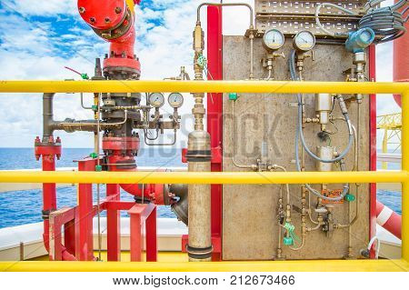 Fire protection system Deluge valve and fire water header to distribute high pressure water to risk area for firefighting at offshore oil and gas industry.