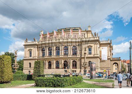 Prague, Czech Republic - August 20, 2017: Outdoor view of The Rudolfinum, a neo-renaissance style building in Prague, seat of Philharmonic Orchestra as well as the Galerie Rudolfinum.