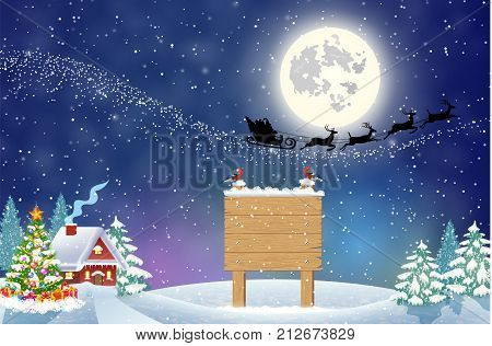 Merry Christmas Wooden Sign On Pole winter country landscape. Santa Claus with deers in sky above the city. concept for greeting and postal card, invitation, template, vector illustration.
